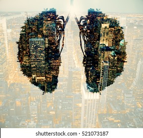 Abstract human lungs on night city background. Environment and health concept. Double exposure