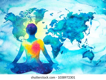 abstract human meditator chakra universe power world map background design blue green watercolor painting