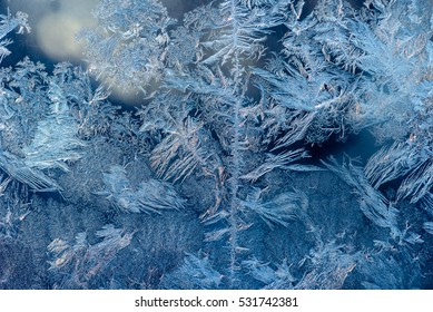 Abstract ice pattern on winter glass