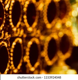 Abstract illuminated glowing blurry golden lights unique background photo