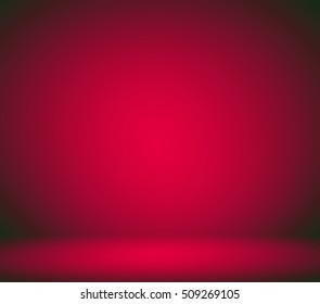 Abstract illustration background texture with bright center spotlight of dark red and black vignette border frame in gradient wall, flat floor
