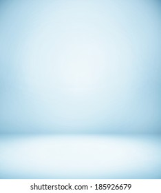 Abstract illustration background texture of light blue and gray gradient wall, flat floor, white ceiling and sides from metal in empty spacious room interior