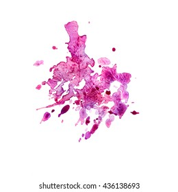 Abstract illustration. Bright color watercolor stain with splashes on white. Background for design.