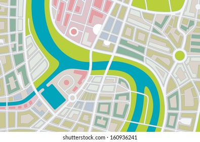abstract illustration of a city map with river