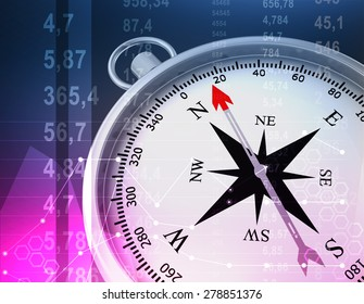 Abstract illustration with compass and random numbers.