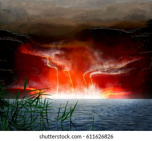 Abstract Illustration fantasy landscape with lava flows on lake.