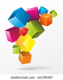 abstract illustration of floating and colorful cubes