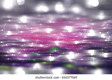Abstract illustration glow soft hearts for Valentines day. Background purple design.