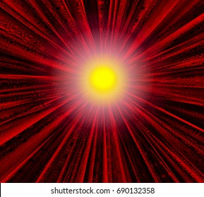 Abstract illustration of a luminous object on a background of intersecting planes. Technically established pattern./Abstract glowing object on the background of intersecting planes in red shades.