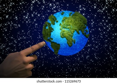 Abstract illustration on man's hand pointing the earth.