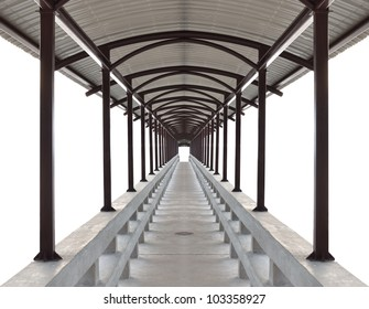 Abstract illustration of perspective pathway with white background.