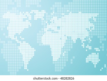 Abstract illustration of world map in mosaic style