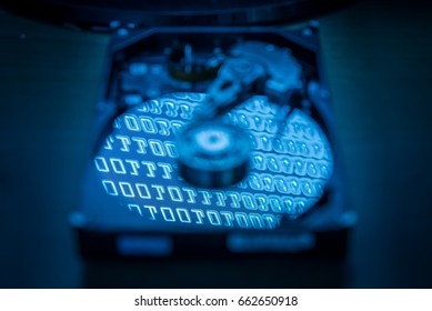 The abstract image of blurred inside of hard disk drive and reflection of binary code on the disc. the concept of data, hardware, and information technology.
