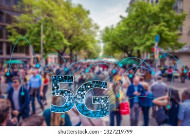 Abstract image of blurred real crowd of people connected via 5G network. Suitable for 5G market deployment, smart city and 5G network wireless systems and internet of things