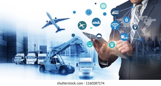 Abstract image of business man point to the hologram on smartphone and forklift handling container box loading for logistic import export and transport industry concept, internet of thing (iot)