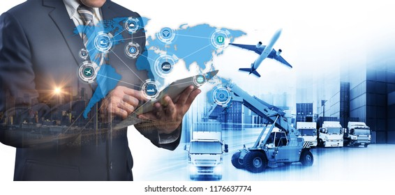Abstract image of business man point to the hologram on smartphone and Industrial Container Cargo freight ship, forklift handling container box loading for logistics financial and internet of things