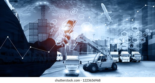 Abstract image of business man point to the hologram on smartphone and Industrial Container Cargo freight ship, for logistic import export and transport industry concept background,