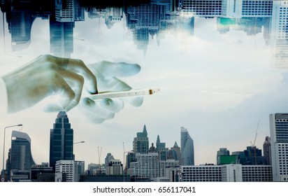Abstract Image of Business People using smart phone over the city, concept of   connection technology or communication.