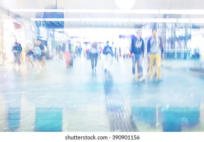 Abstract Image of Business People Walking on the Street and cityscape background