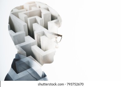 Abstract image of businessman with maze. Challenge and think concept. Double exposure