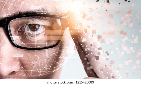 The abstract image of the businessman wear a smart glasses overlay with futuristic hologram. The concept of modern life, technology, iris scanner and internet of things