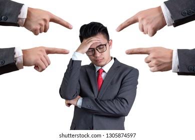 the abstract image of businessmen were blamed by others. the concept of blaming, responsibility, problem and business.