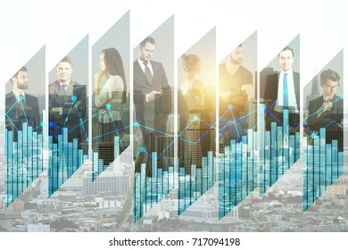 Abstract image of businesspeople on creative city background with business chart. Teamwork and finance concept. Double exposure