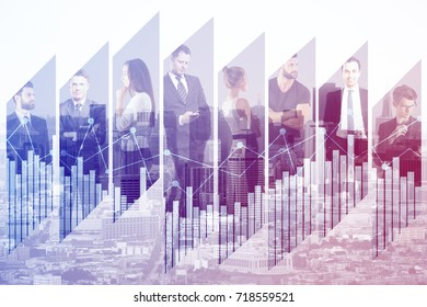 Abstract image of businesspeople on creative city background with business chart. Teamwork and meeting concept. Double exposure