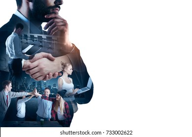 Abstract image of businesspeople using laptop on white background with copy space. Teamwork concept. Double exposure