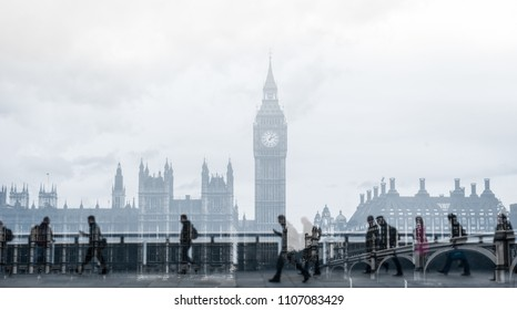 Abstract image of city commuters in London. Concept for Londoners, modern life, management, corporate strategies, future cities, employment, digital transformation, business, finance, migration.