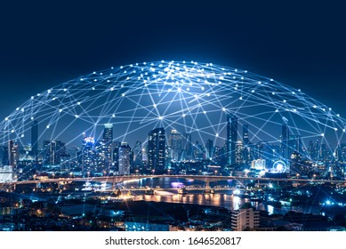 the abstract image of the cityscape image overlay with the futuristic network hologram. the concept of 5G, communication, network, connection, internet of things.