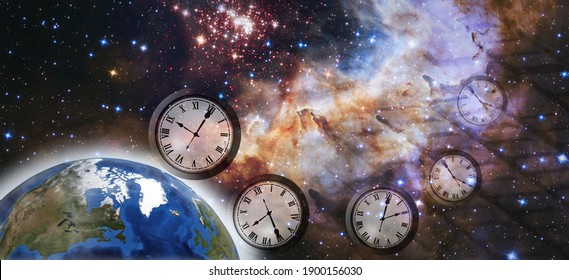 """notizie """"astronomiche"""" Abstract-image-clock-flying-space-260nw-1900156030"""