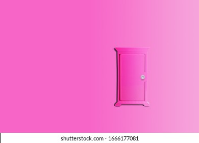 Abstract image of Closed pink door with pink background.
