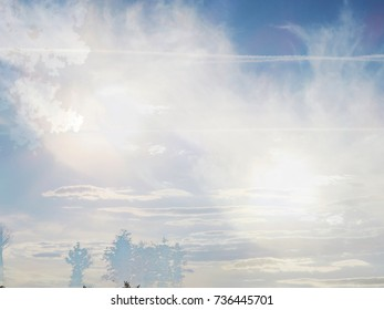 The abstract image of the clouds over the lake of the City Park at the sunset. The complex mixed image for the beautiful decoration of a modern smart home.