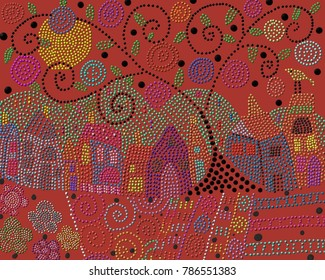 An abstract image depicting a tree in the village