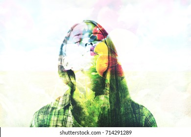 Abstract image of female and flower on light background. Inner peace concept. Double exposure
