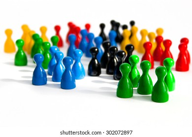 Abstract image of game figurines creating a network,