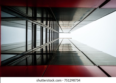 Abstract image of glass and black steel building. Architectural exterior facade and detail. Abstract color background. Modern architecture and design