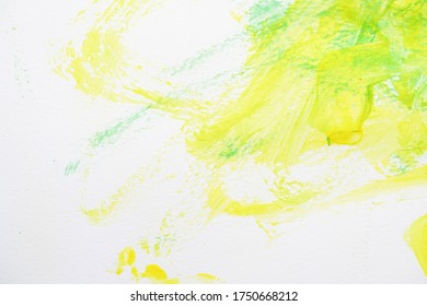 abstract image green and yellow watercolor paint on white paper background