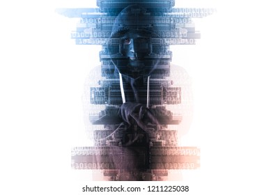 The abstract image of the hacker standing overlay with futuristic hologram and the future cityscape is backdrop. the concept of cyber attack, virus, malware, illegally and cyber security.