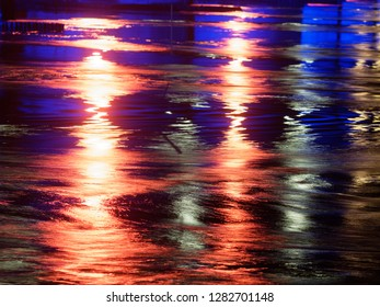 Abstract Image of illuminated  flowing river water