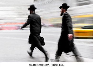abstract image of jewish business people in the street
