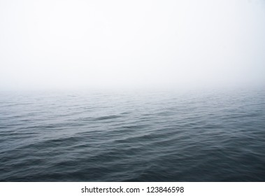 abstract image of a lake with fog.