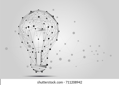 Abstract image of a lamp bulb consisting of points, lines, and shapes. Business illustration. Space poly, stars and universe