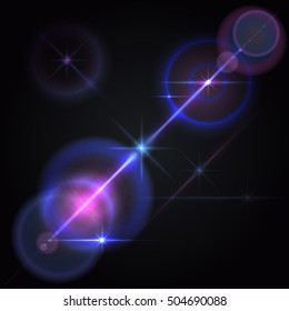 Abstract image of lens flares star lights and glow. Resizable illustration.