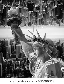 Abstract image of New York City with views of the Manhattan, Statue of Liberty and tilt shift effect