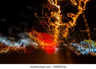 Abstract image of night lights in the city.Motion blur.
