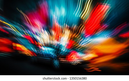 Abstract image of NYC Illumination and night lights. Neon light of big city. Intentional motion blur