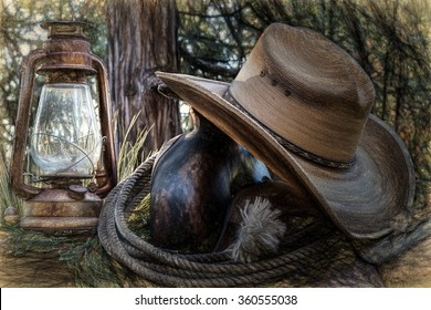 An abstract image of old west style objects.