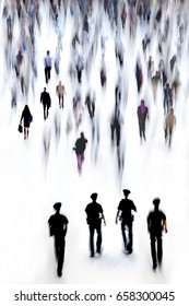 abstract image of people and police in the lobby of a modern business center with a blurred background